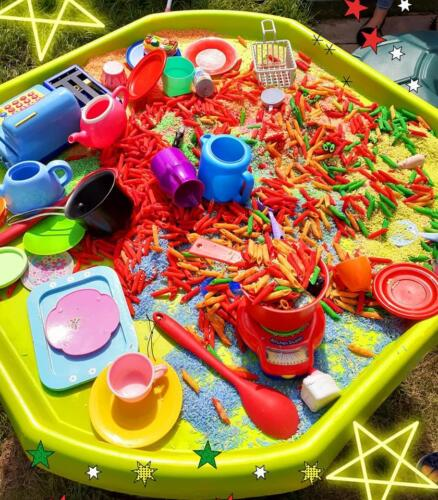 Pasta messy play sensory tray
